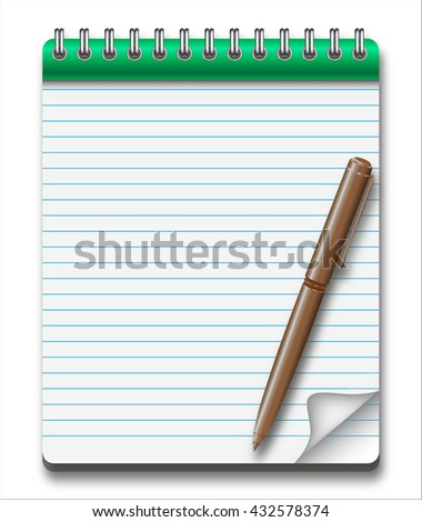 Notepad with pen. Sheet in the line. Rasterized versions