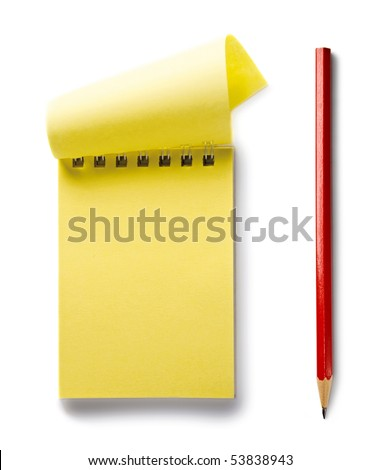 Notepad with pencil isolated on the white background