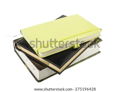 notepads and books on a white background - stock photo