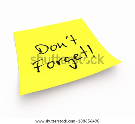 notepaper concept - don't forget - stock photo