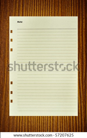Notepaper on wood