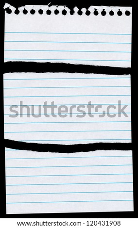 Notepaper page torn in 3 pieces isolated on black. - stock photo