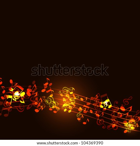 Notes abstract gold music background - stock photo