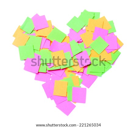 Notes in heart shape - stock photo
