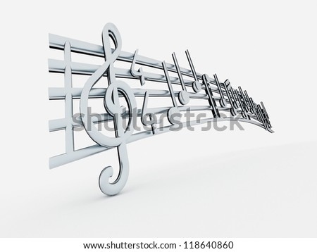 Notes music isolated silver on white background - stock photo