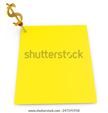 notes of yellow color on a white background - stock photo