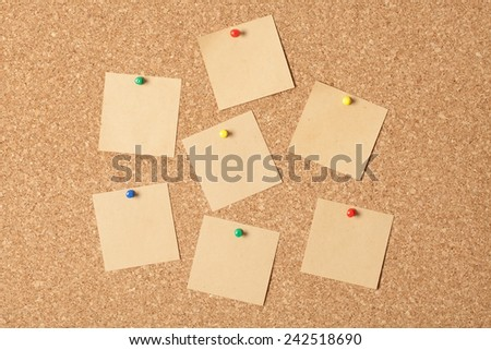 Notes on cork-board - stock photo