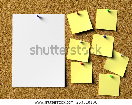 Notes on cork board - stock photo