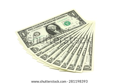 notes one US dollar decomposed like a fan on a white background