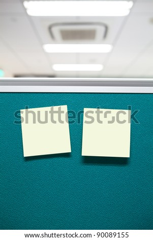 notes paper on blue  board in office - stock photo