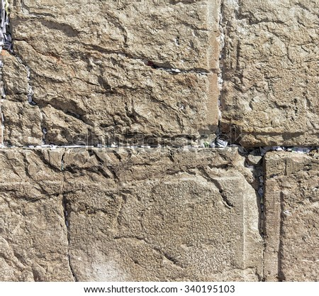 Notes to God in the Western Wall, holy site in judaism as the outside wall for the Second Temple. Jerusalem.  Israel