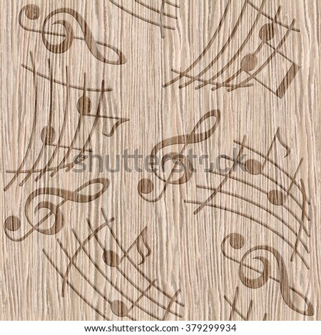 Notes with music elements as a musical background design - seamless style - Natural structure - Continuous replication - Blasted Oak Groove wood texture