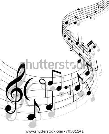 Notes with music elements as a musical background design. Vector version also available in gallery - stock photo