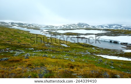 Noth Norway mountain spring tundra valley and small puddles - stock photo