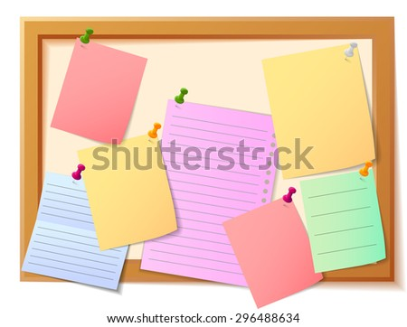 Notice board filled with various stationary items - stock photo