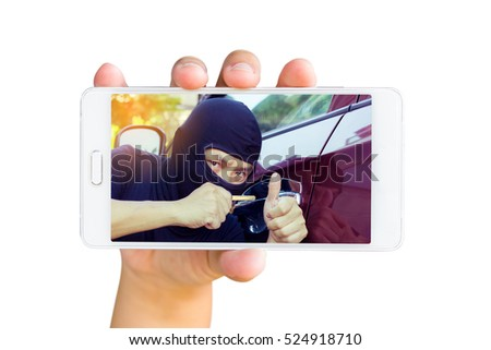 Notifications about the safety of your car with your mobile phone. Man use mobile phone, image of thieves trying to open car door on screen.