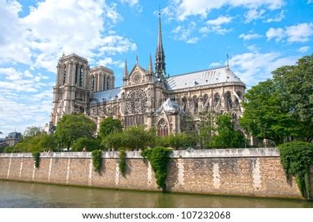 Notre Dame  and the river Seine ,Paris - stock photo