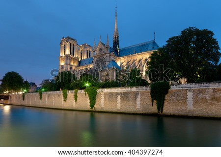Notre Dame at night,  Paris - France. - stock photo
