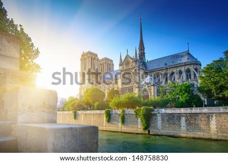 Notre Dame at sunset - Paris - stock photo