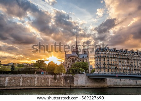 Notre Dame cathedral against colorful sunset during spring time in Paris, France