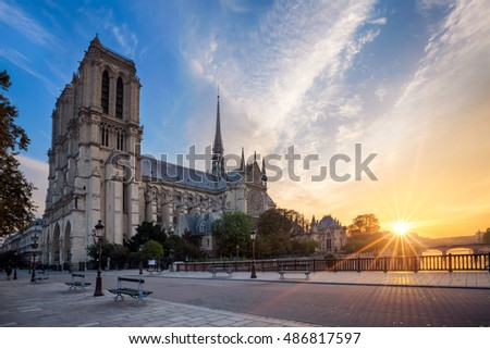 Notre Dame Cathedral at sunrise. Paris, France