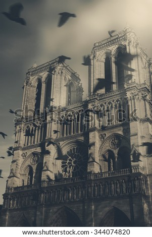 Notre Dame cathedral at sunset and flying (blurred) black birds in the sky (Paris, France). Soul metaphor. Toned photo with foggy light effect. - stock photo