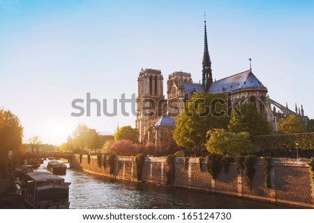 Notre Dame cathedral at sunset in Paris, France - stock photo