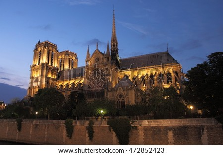 Notre Dame Cathedral at sunset. Paris, France
