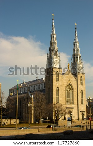 Notre-Dame Cathedral Basilica in Ottawa, Canada - stock photo