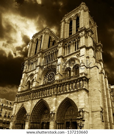 Notre Dame Cathedral Facade in Paris. - stock photo
