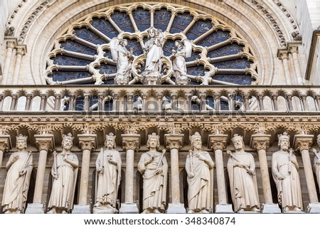 Notre Dame cathedral in Paris,France - stock photo
