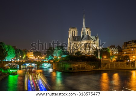 Notre Dame cathedral in the evening, Paris, France