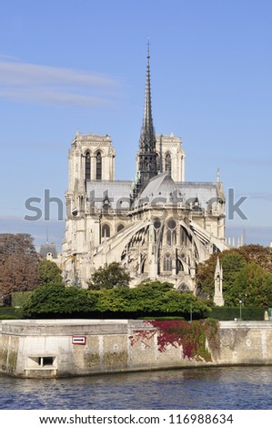 Notre Dame Cathedral on Ile de la Cite in Paris - stock photo