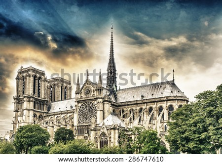 Notre Dame Cathedral, Paris. - stock photo