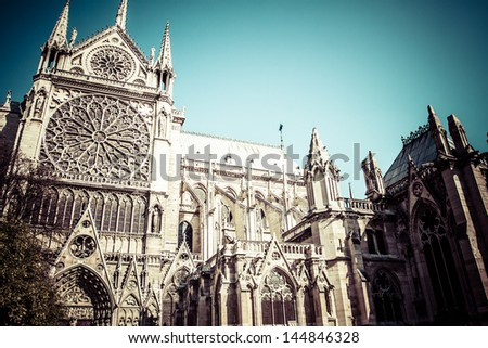 Notre Dame Cathedral, Paris, France. - stock photo