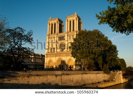 Notre dame cathedral Paris France Europe - stock photo