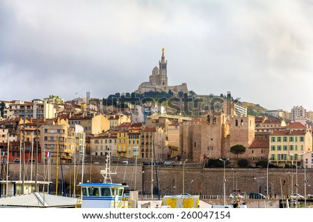 Notre-Dame de la Garde and Abbey of Saint Victor in Marseille - France - stock photo