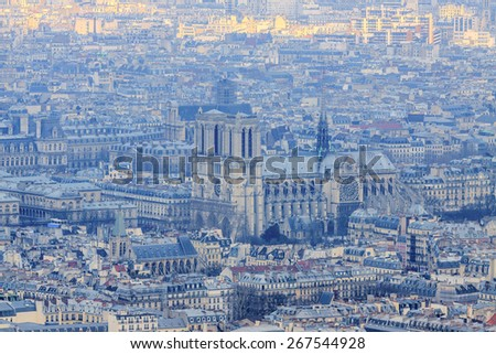 Notre Dame de Paris aerial view from Montparnasse tower - stock photo