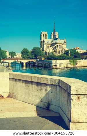 Notre-Dame de Paris, also known as Notre-Dame Cathedral, is a historic Catholic cathedral on the eastern half of the I?le de la Cite, Paris, France, Vintage stylized  - stock photo