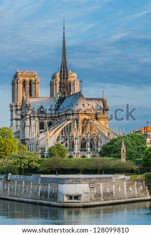 notre dame de paris and the seine river France in the city of Paris in france - stock photo