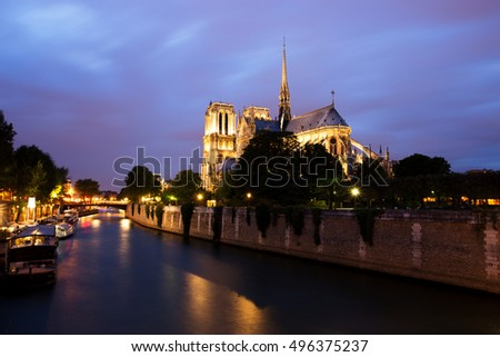 Notre Dame de Paris at Dusk, France