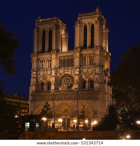 Notre Dame de Paris at Evening,  France