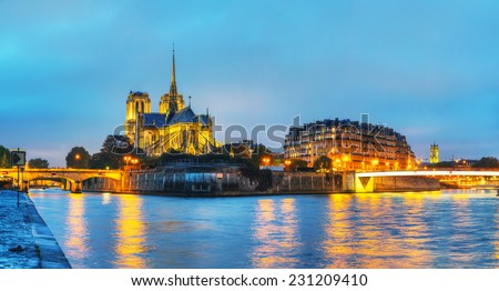 Notre Dame de Paris cathedral panorama at night - stock photo