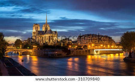 Notre Dame De Paris during the twilight.