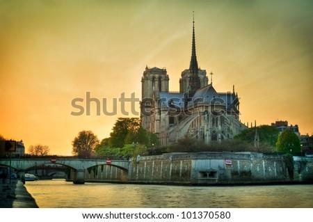 Notre dame de Paris - France - stock photo