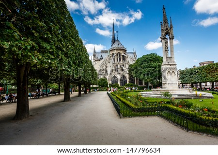 Notre Dame de Paris Garden on Cite Island, Paris, France - stock photo