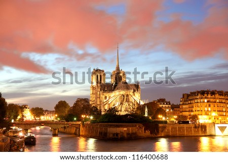 Notre Dame de Paris in the evening,  France - stock photo