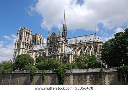 Notre Dame de Paris, Notre Dame Cathedral - stock photo