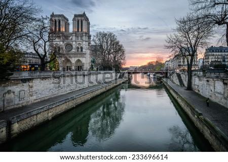 Notre Dame de Paris sunrise 2 - stock photo