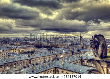 Notre Dame de Paris, with Chimeras, overlooking the skyline of Paris  - stock photo